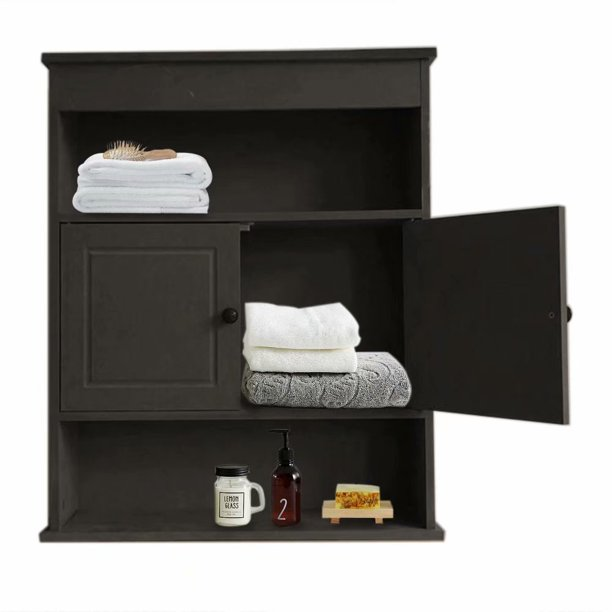 Bathroom Wall Cabinet with 2-Doors and 2-Shelf, 23-Inches Wide by 28-Inches Tall by 7-Inches Deep Brown