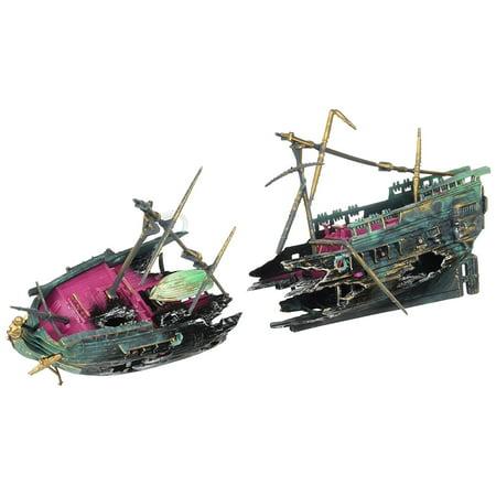 Shipwreck Aquarium Decoration Ornament With Moving Masts Lifeboat