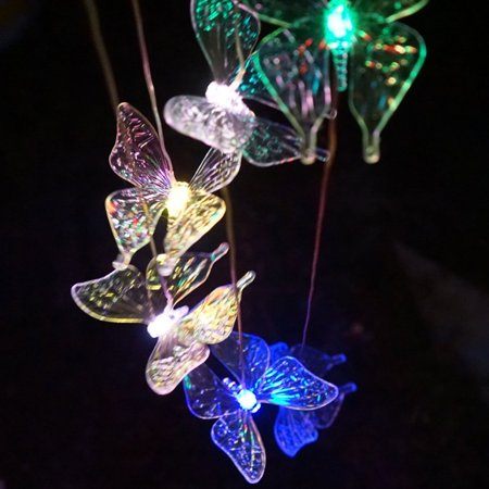 iMeshbean Butterfly LED Color-Changing Power Solar Wind Chimes Yard Home Garden Decor - Yard Decor