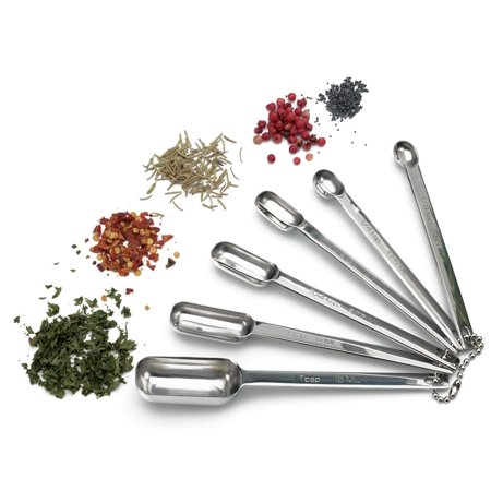 RSVP Endurance Superior Quality 18/8 Stainless Steel Spice Spoons with Narrow Measure to Fit Most Spice Jars, Set of 6 most popular sizes, Our.., By RSVP International
