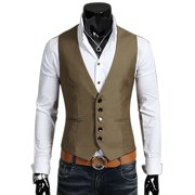 Men's Formal Casual Business Dress Vest Suit Slim Tuxedo Waistcoat Coat Jacket