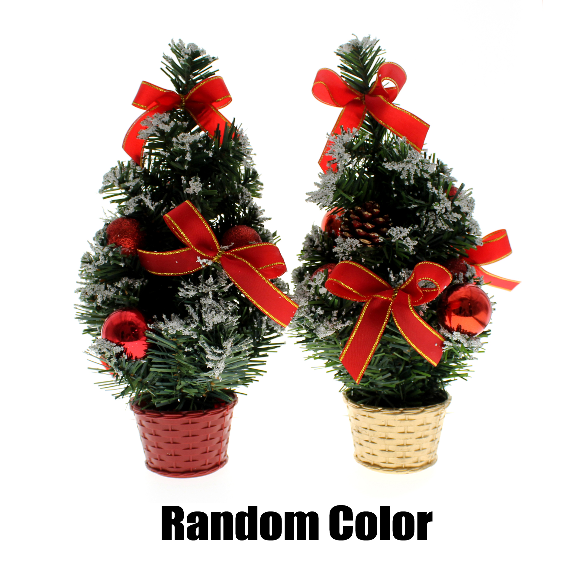 "10"" Mini Home Office Bedroom Livingroom Desk Top Artifical Christmas Tree with Snow Ball Bows Gifts Ornaments Decorations,"