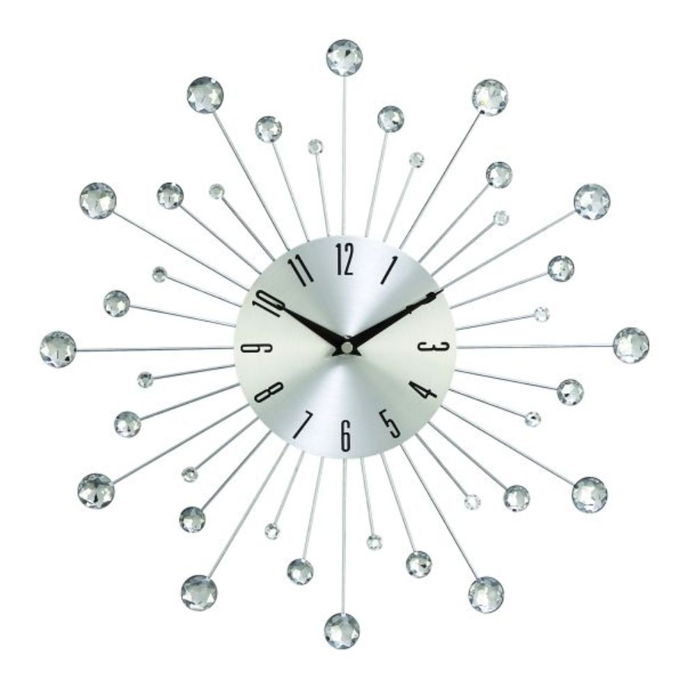 "Metal Wall Clock 15""D, Silver, Black"