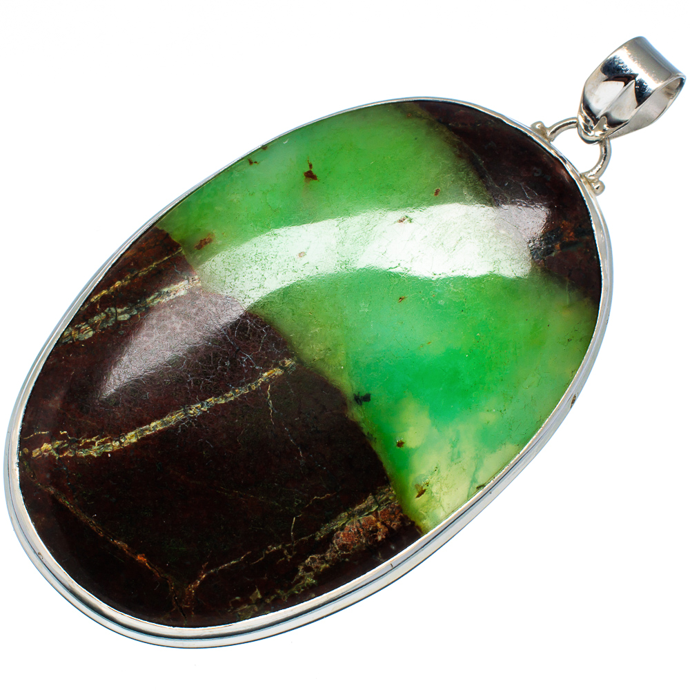 "Ana Silver Co Huge Boulder Chrysoprase Pendant 3 1 4"" (925 Sterling Silver) Handmade Jewelry PD575803 by Ana Silver Co."