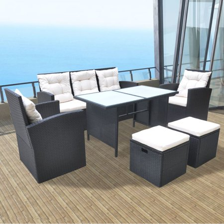 Outdoor Dining Set 18 Pieces Poly Rattan Black ()