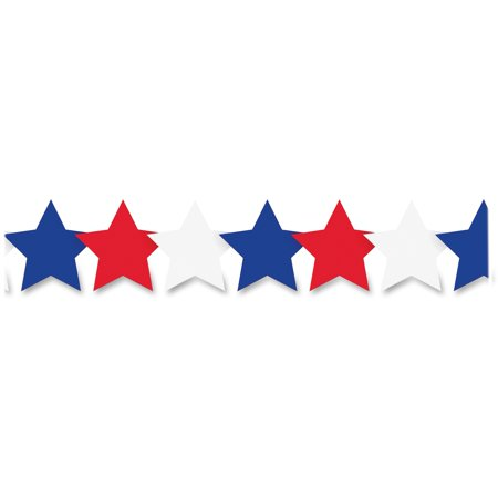 Hygloss HYX33654 Patriotic Stars Border Strips 12 Pack Assorted
