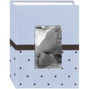 "Pioneer Baby Dot Fabric Frame Photo Album 4""X6"" -Blue/Brown"