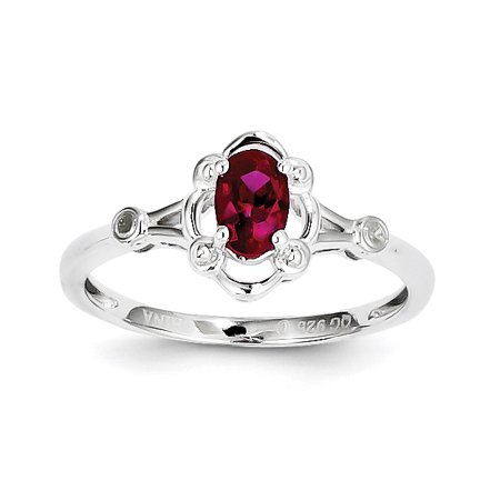 Roy Rose Jewelry Sterling Silver Created Ruby And Diamond Ring   Size 7
