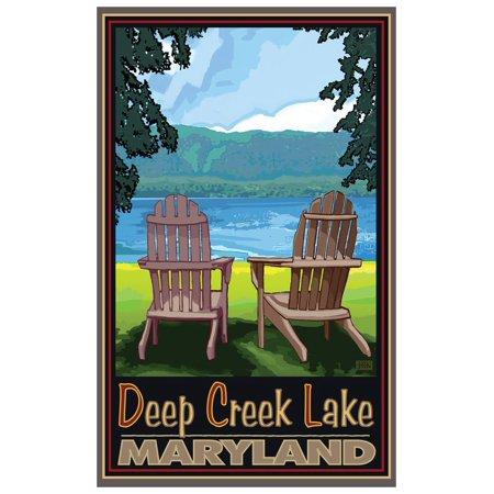 Deep Creek, Maryland Adirondack Chairs Lake Travel Art Print Poster by Joanne Kollman (12