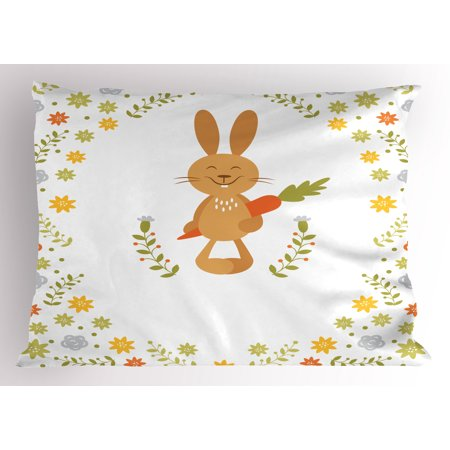 Funny Pillow Sham Cute Summer Illustration with Smiling Little Rabbit Carrots and Flowers Happy Bunny, Decorative Standard King Size Printed Pillowcase, 36 X 20 Inches, Multicolor, by (King Of Carrot Flowers Part 2 And 3)