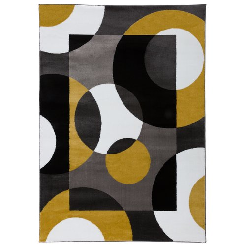 Ebern Designs Nava Modern Circles Gray/Yellow Area Rug