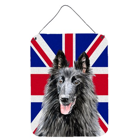 Belgian Sheepdog with English Union Jack British Flag Wall or Door Hanging Prints