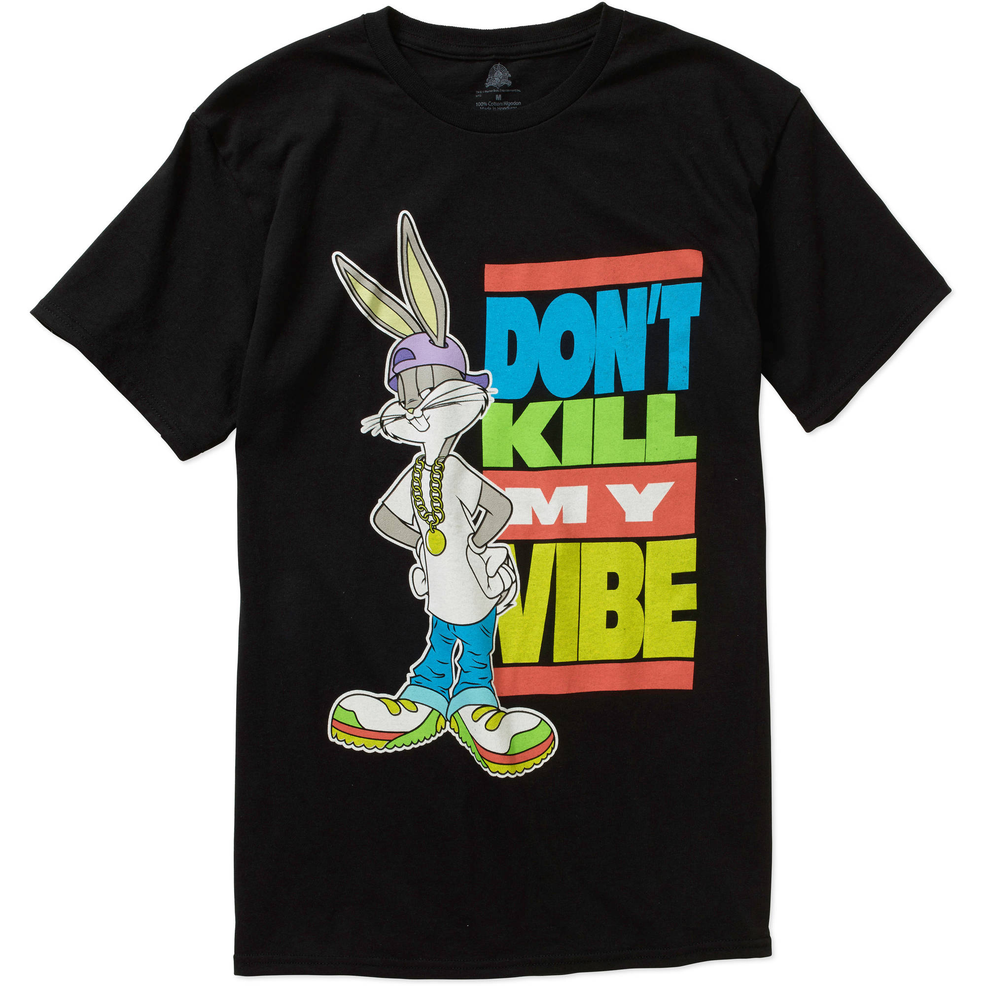 Warner Brothers Bugs Don't Kill My Vibe  Big Men's Short Sleeve Graphic  Tee