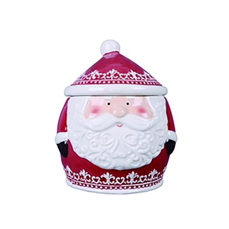 Nordic Pattern Santa Cookie Jar (Ceramic Santa Cookie Jar)