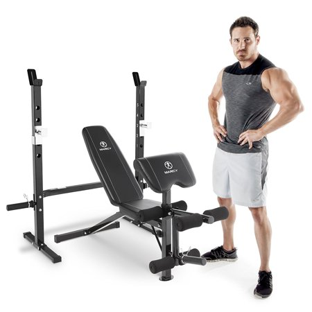 Marcy Olympic Weight Bench with Bar Catches, Leg Developer, & Preacher Curl Pad (Marcy Weight Bench Set)