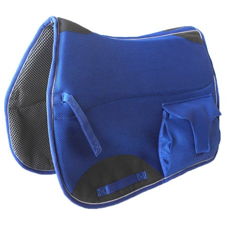 Horse English All Purpose Neoprene Dressage Saddle Pad Pocket Blue 6401RB