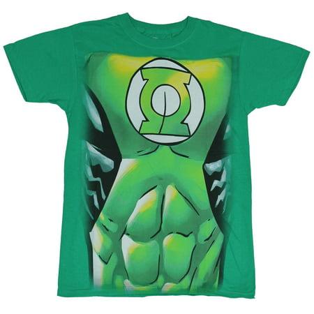 Green Lantern Mens Costume (Green Lantern (Dc Comics) Mens T-Shirt - Ripped Abs Costume)