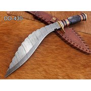 "15 Inches long Damascus Steel Kukri Knife, custom made Hand Forged Damascus steel With 10"" long blade, Black Bull horn crafted with engraved brass scale, Cow Leather Sheath"