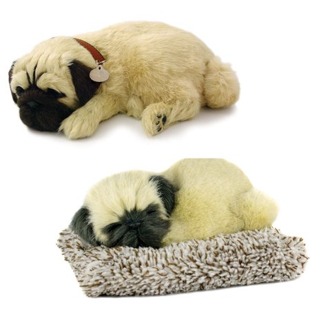 (Set) Perfect Petzzz Breathing Pug Dog & Mini Pug - Plush Synthetic (Best Toys For Pug Puppies)