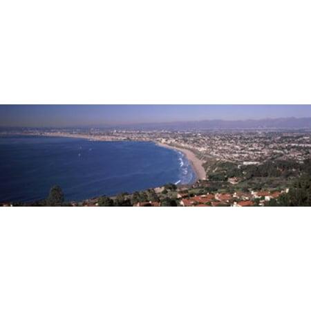 Aerial view of a city at coast Santa Monica Beach Beverly Hills Los Angeles County California USA Poster Print (Party City Santa Monica)