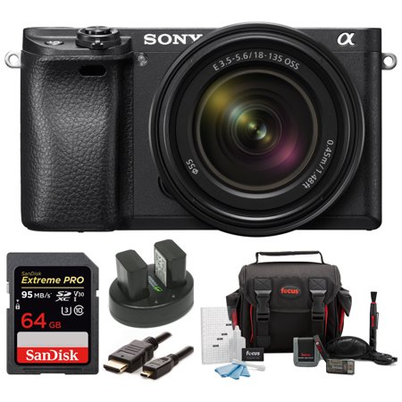 Sony Alpha a6300 Camera (Black) w/ 18-135mm Lens + 64GB SD Card + Accessories