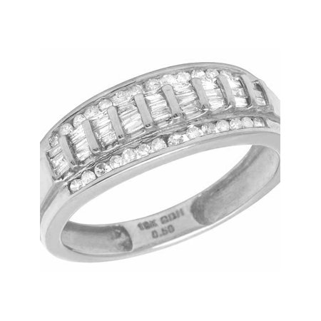 548ac8be83408 Men's 10K White Gold Real Baguette Diamond Wedding Band Ring 1/2 CT 8MM