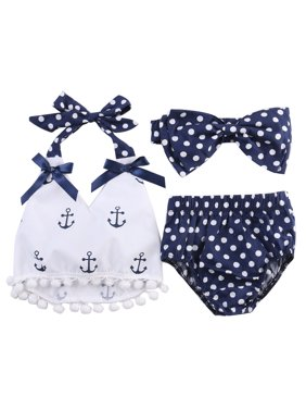 4a8a7b848 Product Image StylesILove Chi Infant Baby Girl Anchor Top with Polka Dots  Bloomers Sunsuit Clothing Set (100