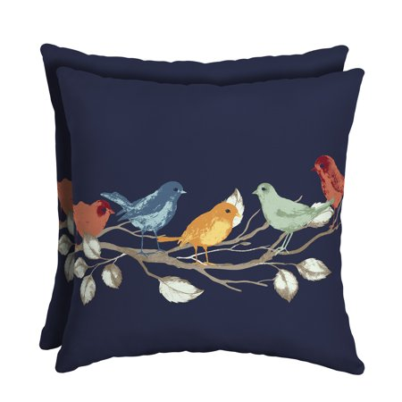 Mainstays (554) Navy Birds 16 x 16 in. Outdoor Patio Toss Pillow, Set of 2