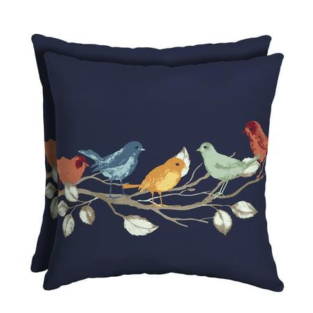 Mainstays Navy Birds 16 x 16 in. Outdoor Patio Toss Pillow, Set of 2