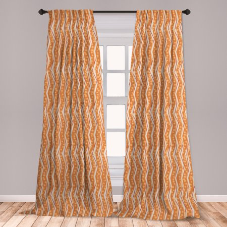 Burnt Orange Curtains 2 Panels Set, Chevron Zigzags Pattern with Stripe and Dots Geometrical, Window Drapes for Living Room Bedroom, Burnt Orange Off White, by Ambesonne Amy Dot Stripe