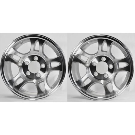 Two Aluminum Trailer Rims Wheels 5 Lug 15 in. T03 Split-Spoke Style (2 Piece Split Rim)