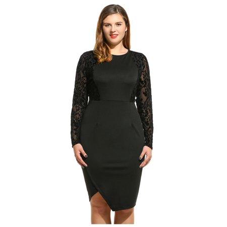 Zip Detail Sheath Dress - Hifashion Women Long Sleeve Patchwork  O-Neck Zip-up Sheath Dress HFON