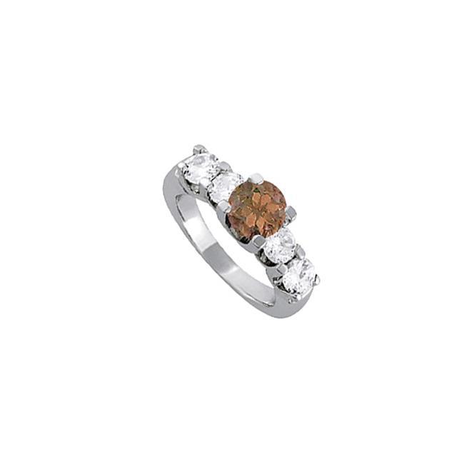 Fine Jewelry Vault UBNR83561AGCZSQ Smoky Quartz & CZ Ring in Sterling Silver, 4 Stones