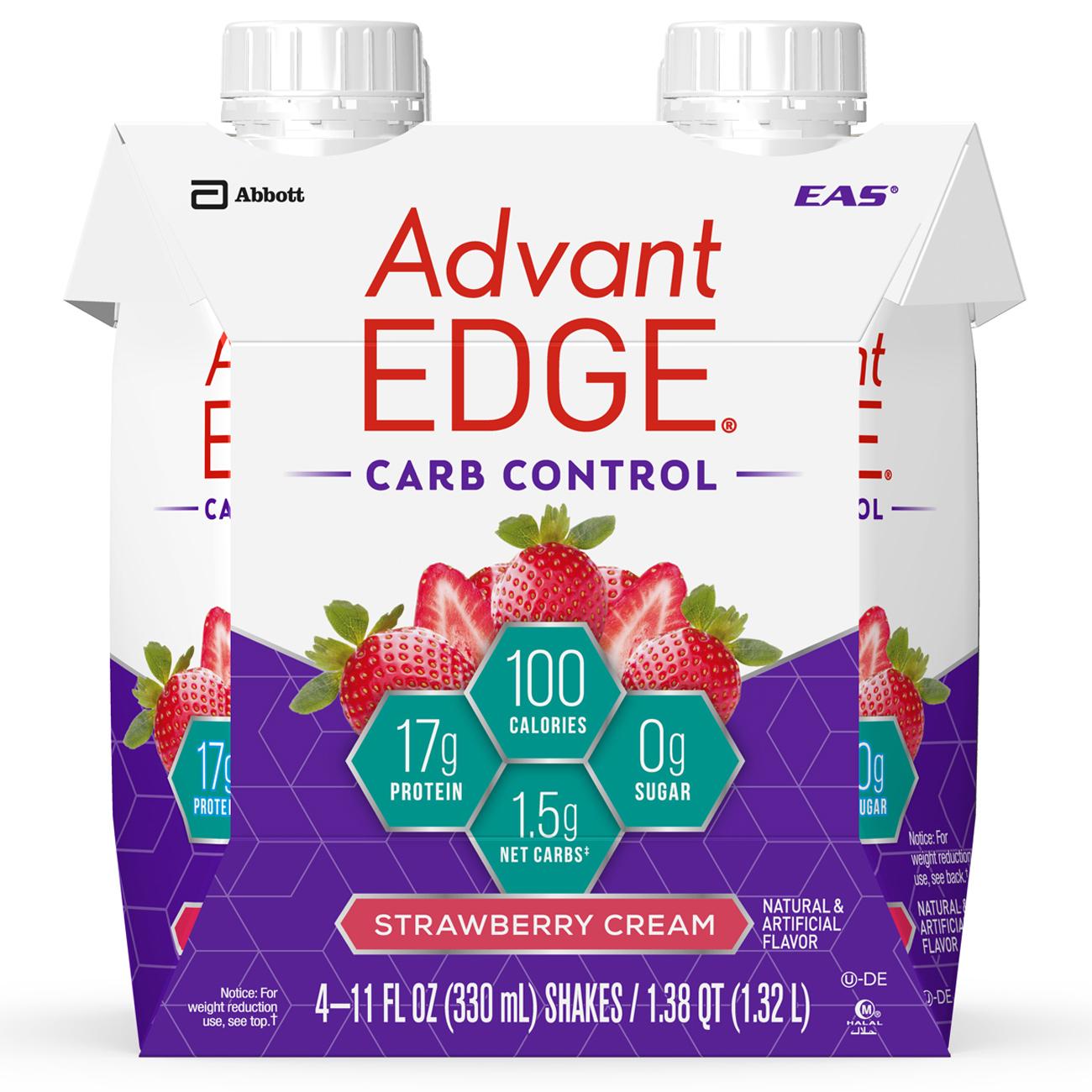 EAS AdvantEDGE Carb Control Protein Shake, Strawberry Cream, 17g Protein, 4 Ct