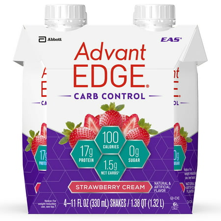 Eas Advantedge Carb Control - EAS AdvantEDGE Carb Control Protein Shake, Strawberry Cream, 17g Protein, 4 Ct