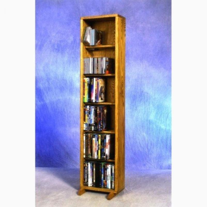 Wood Shed 615-12 Combo Solid Oak 6 Row Dowel CD-DVD Cabinet Tower