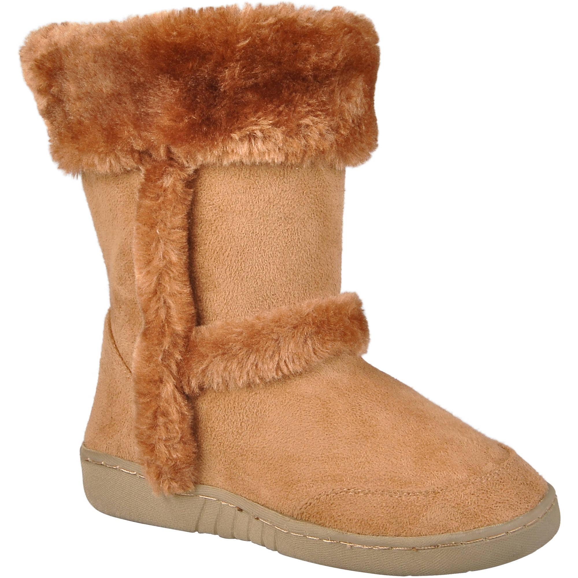 Brinley Co Girls Faux Fur Trim Boots