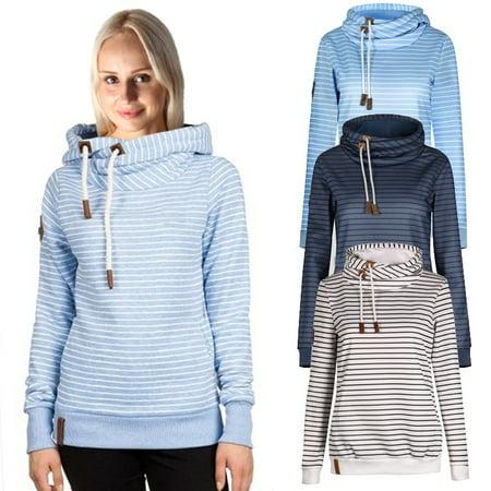 Women's Fashion Long Sleeve Stripe Drawstring High Collar Sweater Hoodie Tops Printed Hooded Warm Cardigan Pullover ()