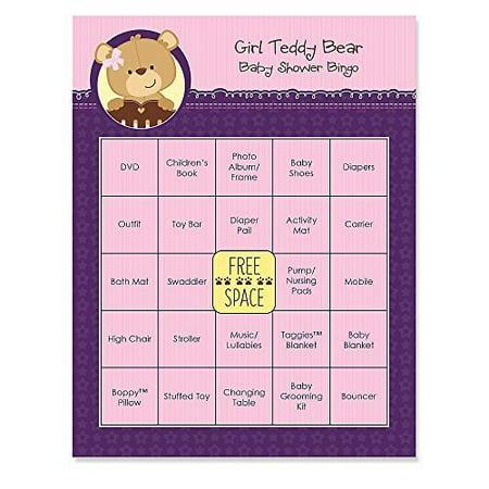 Baby Girl Teddy Bear   Baby Shower Game Bingo Cards   16 Count