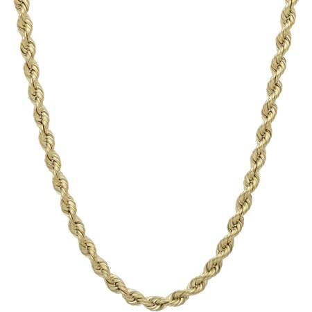 3.2mm Hollow Rope 10kt Yellow Gold Chain, 20