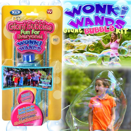 Set of 2 Giant Bubbles Maker Wonki Wands With 2 Big Bottles Solution Kids Party Favors Kit