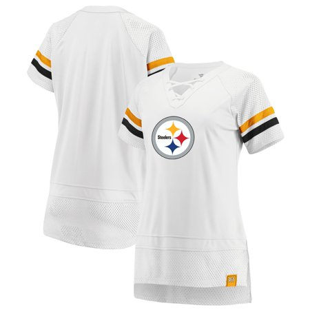 Pittsburgh Steelers Fanatics Branded Women's Draft Me Lace Up T-Shirt - White/Black Dwight White Pittsburgh Steelers