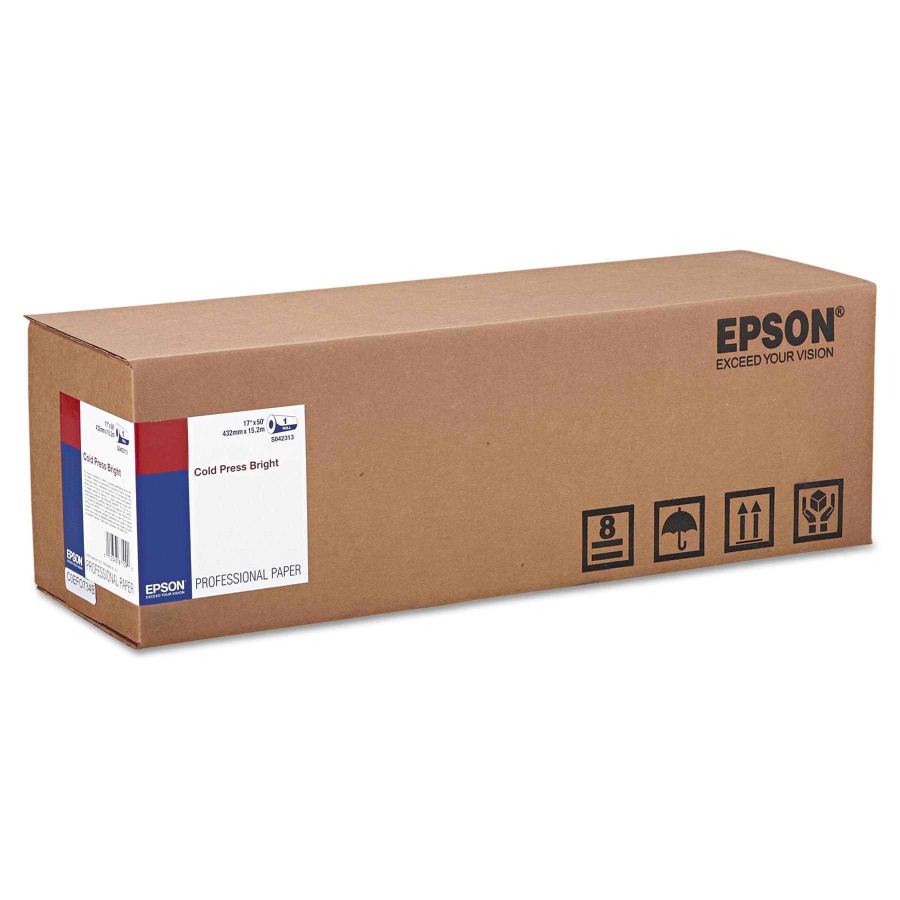 "Epson Cold Press Bright Fine Art Paper, 17"" x 50 ft, Bright White, Roll -EPSS042313"