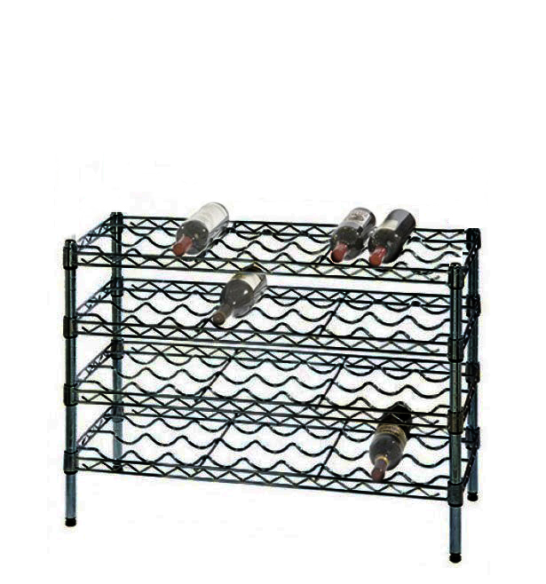 "14"" Deep x 36"" Wide x 36"" High 4 Black Shelf Single Wine Rack with 36 Bottle Storage Capacity"