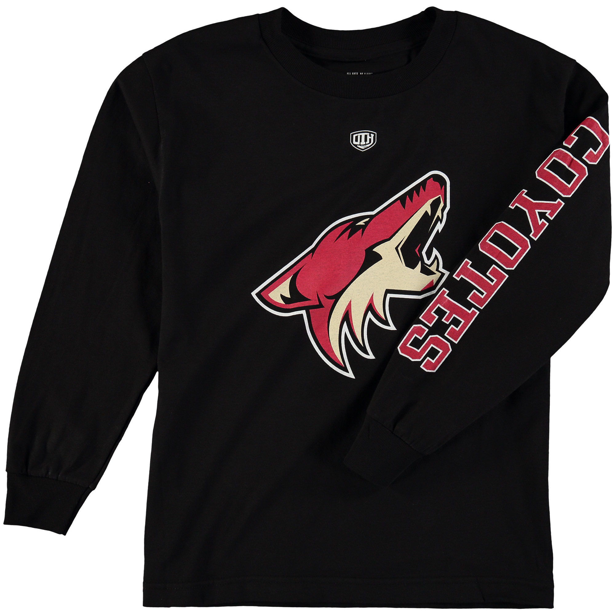 Arizona Coyotes Old Time Hockey Youth Two Hit Long Sleeve T-Shirt Black by Old Time Hockey