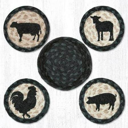 Farm Coasters (BARNYARD FARM ANIMALS 100% Natural Braided Jute Coaster Set of 4 with Basket )