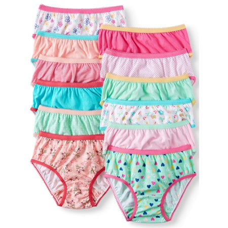 Wonder Nation Toddler Girls Underwear 100% Cotton, Super Comfortable Brief Panties, 12-pack (Toddler Girls)