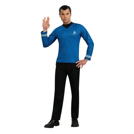 Star Trek Mens Movie Blue Shirt Adult Halloween Costume - Female Movie Star Halloween Costumes