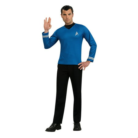 Star Trek Mens Movie Blue Shirt Adult Halloween Costume - Star Trek Costumes For Men