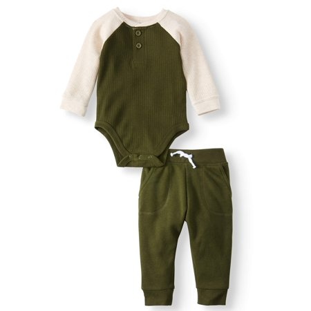 Baby Boy Long Sleeve Thermal Henley Bodysuit & Joggers, 2pc Outfit
